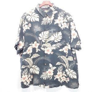 Caribbean silk blend floral button-up shirt